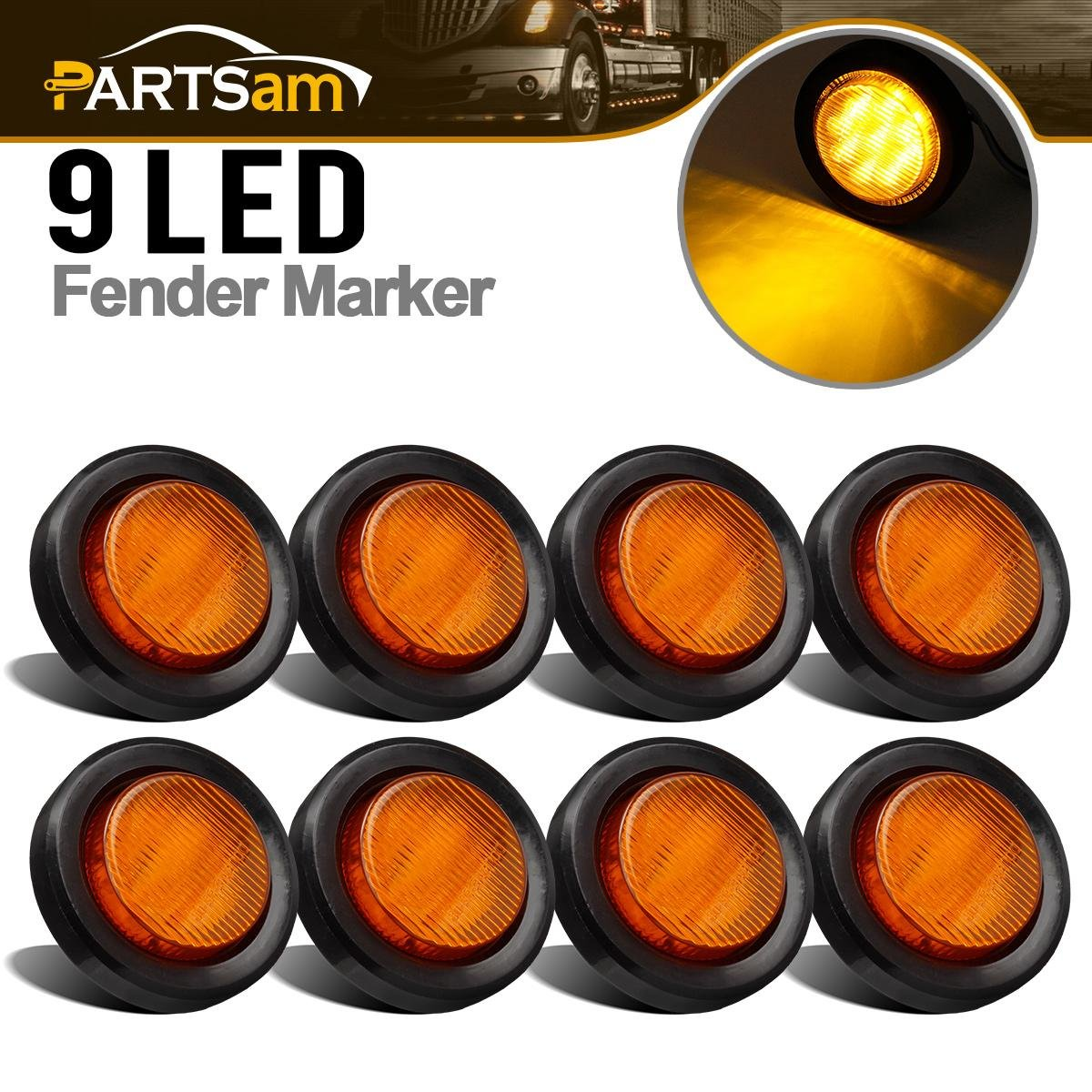 Partsam 8pcs 2 Side Marker Clearance Amber light 9 LEDs With Standard 2 Pins