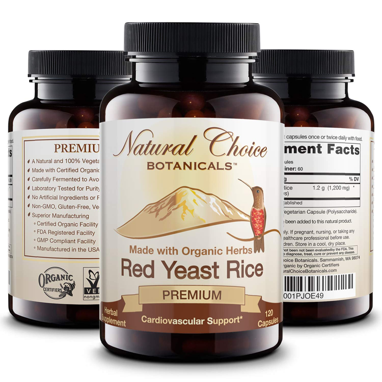 Certified Organic Red Yeast Rice Supplement - 120 Veggie Capsules