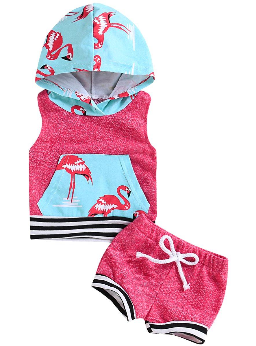 Mini honey 2Pcs Infant Toddler Baby Girls Sleeveless Flower Hoodie+Elastic Dots Shorts Summer Outfit Set