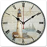 """iCasso 12"""" Retro Vintage Coffee Cup French Country Tuscan Style Non-Ticking Silent Wood Wall Clock Wooden Wall Art Decor (Ligh house)"""