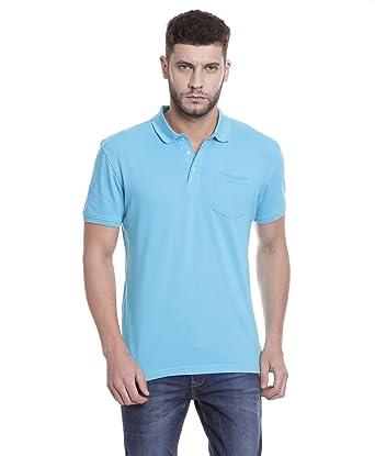 e19720c032 Tempt Men's Premium Poly-Cotton Plain Teal Blue Polo Neck T-Shirt ...