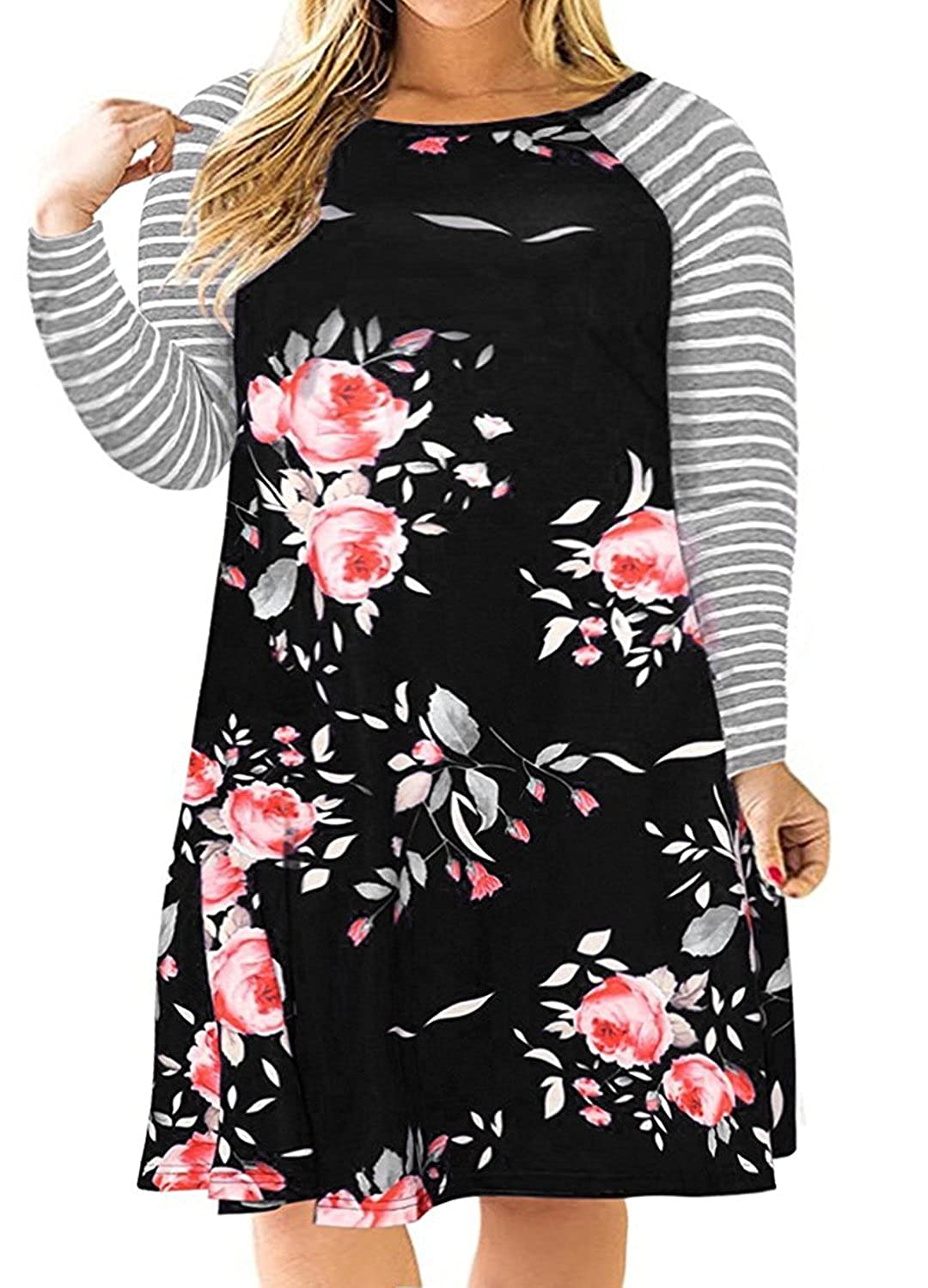 4f7a7ea9 Elastic and Stretchable Soft and Comfortable ,Floral Print Dress, Plus Size  Long Raglan Striped Sleeve Floral Dresses,you Will Love It