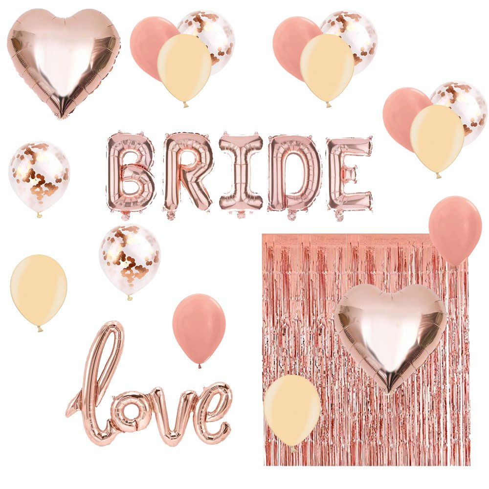 YAYJOY Bridal Shower & Bachelorette Party Decorations kit Rose Gold- Set Includes Bride Foil Balloon, Love Foil Balloon, 2 Heart Foil Balloon, 1 Foil Fringe Curtain, 15 Latex Balloon