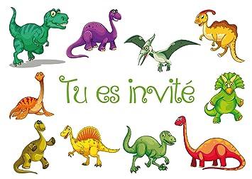 Edition Colibri Lot De 10 Cartes D Invitation Dinosaures En Français Pour Un Anniversaire D Enfant Ou Pour Une Fête Sur Le Thème De La Préhistoire Des