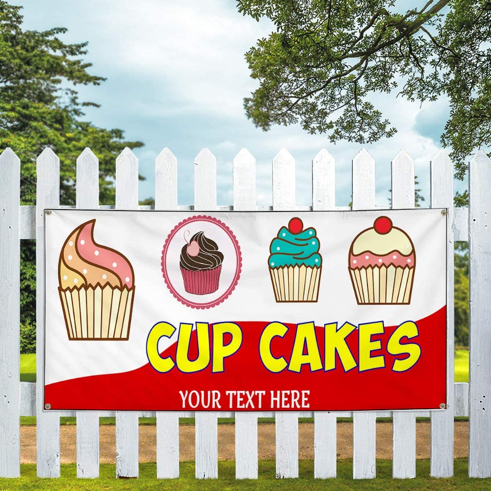 Custom Industrial Vinyl Banner Cup Cakes Personalized Text Outdoor Red 4 Grommets 24x48Inches