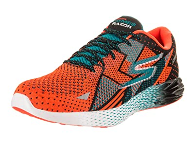 Skechers Men's Go MEB Razor Orange/Blue Ankle-High Fabric Running Shoe - 7.5
