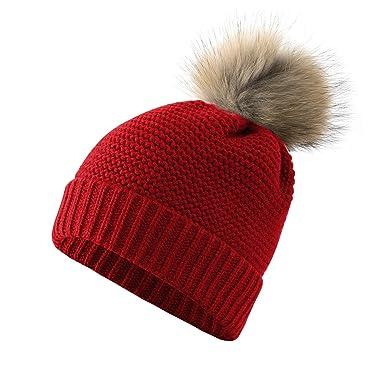 3d737492b Aitos Woman's Winter Warm Knitted Hat Soft Fur Thick Pom Pom Beanie ...