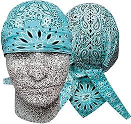 dfbce47f123b Danbanna Deluxe Teal Blue Black White Paisley Headwrap Doo Rag Skull Cap  Durag Sweatband Adjustable Ties