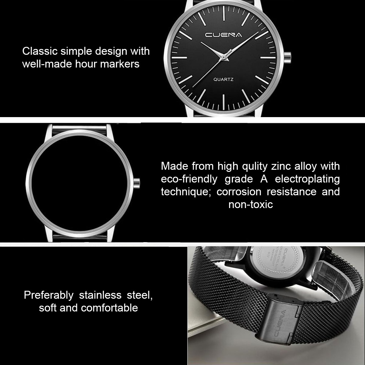 Men\'s Wrist Quartz Watch, Simplicity Classic Stainless Casual Watch, Milanese Mesh Band by CUENA, Black