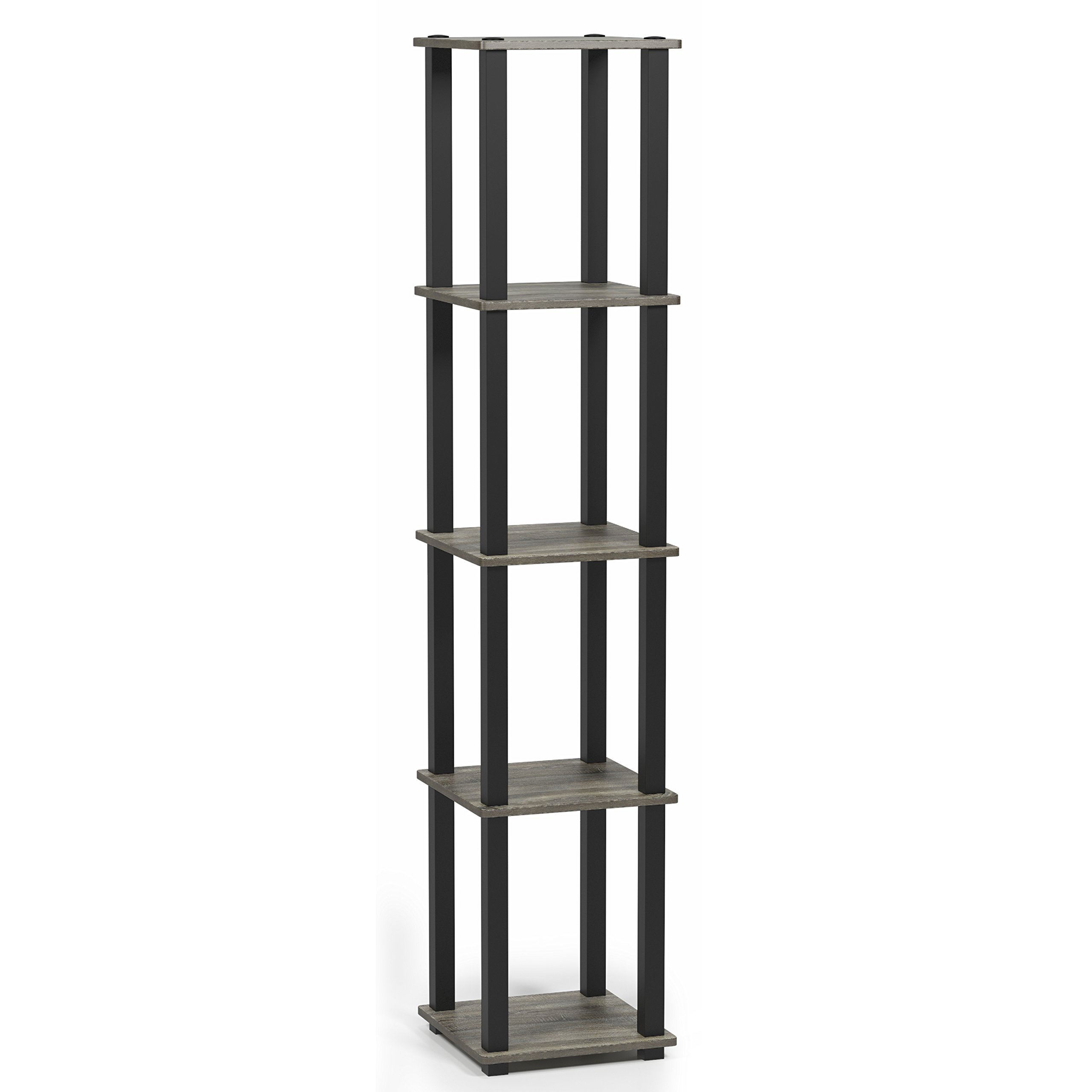 Furinno 18026GYW/BK Turn-S 5-Tier Compact Multipurpose Shelf, Square Tube, French Oak Grey/Black by Furinno (Image #6)