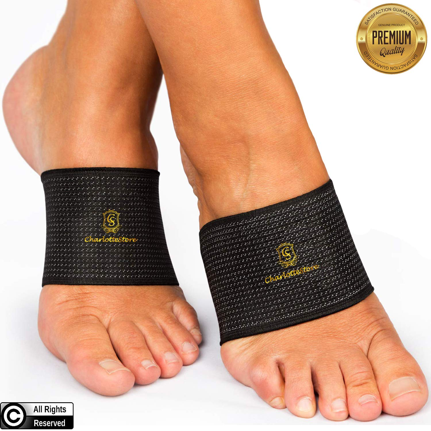 by.RHO Arch Support Plantar Fasciitis | Copper Compression Inserts Sleeves Men Women Heel Pain Relief Cushioned Foot Fallen Arches Achy Feet Problems