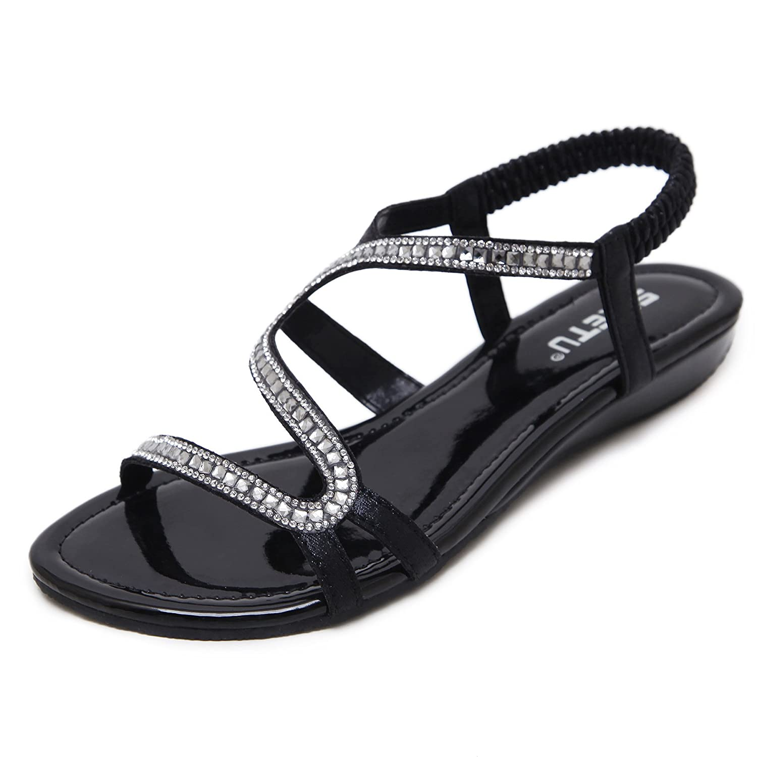 GESDY Women Summer Open Toe Sandals Crystal Rhinestone Low Wedge Strappy Beach Slippers Shoes Party Evening B07CK7D1ZR 10 B(M) US|Black