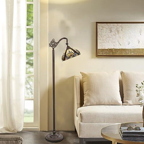 Cotoss Tiffany Floor Lamp Reading Victorian Tiffany Style Reading Floor Lamp Adjustable Angle Stained Glass Floor Lamp Pole Lamp Arc Tiffany Tall Standing Lamp Antique Tiffany Lamp