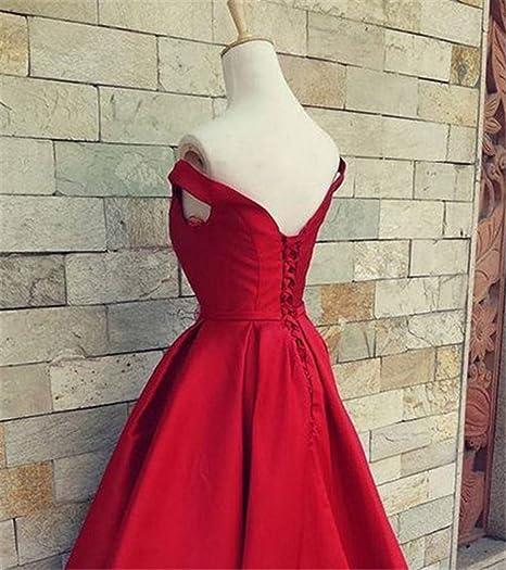 Drasawee Womens Off Shoulder Satin Wedding Party Prom Dress Elegant Bowknot Maxi Formal Evening Gowns 3# UK22: Amazon.co.uk: Clothing