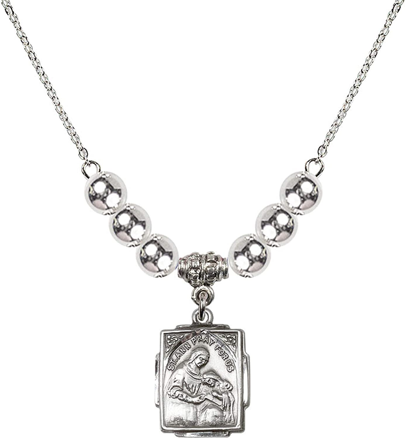 Bonyak Jewelry 18 Inch Rhodium Plated Necklace w// 6mm Sterling Silver Beads and Saint Ann Charm