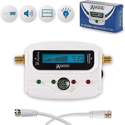 display digitale luminoso Rilevatore satellitare digitale LCD Anadol SF33 regolatore satellitare di prese antenna e antenne piatte segnale cavo di collegamento istruzioni in lingua tedesca