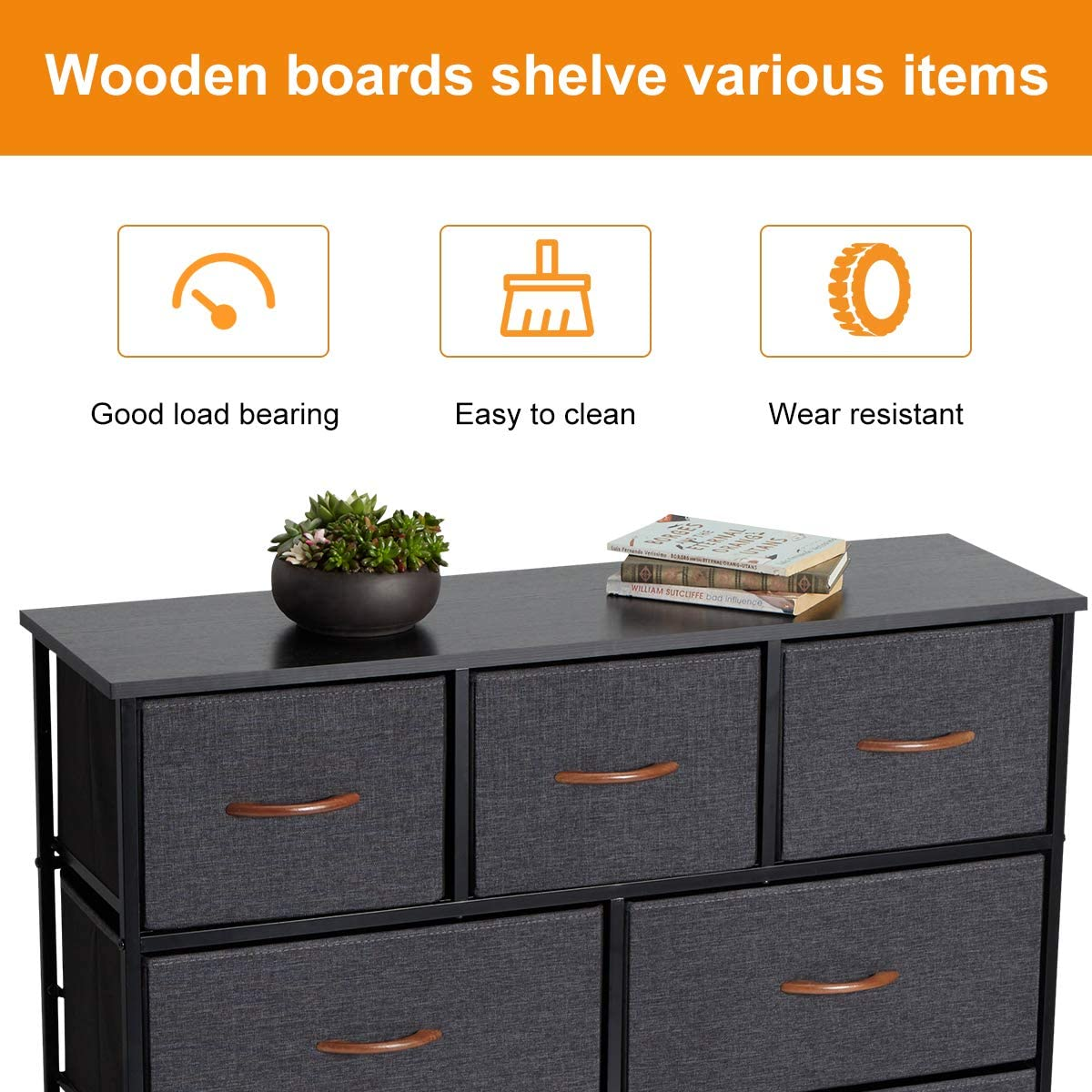 AVAWING Dresser with 9 Drawers Wooden Top Hallway- Sturdy Steel Frame Fabric Dresser Tower for Closets,Bedroom Vertical Storage Tower Dresser for Bedroom with Drawers Grey