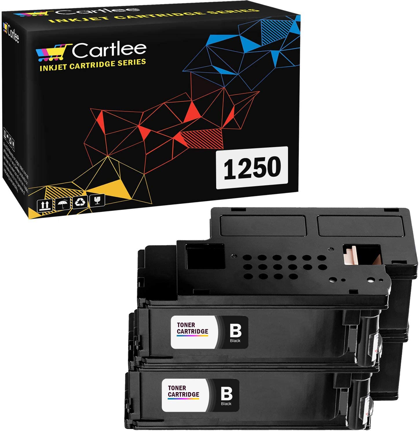 Cartlee Set of 2 Black Compatible High Yield Laser Toner Cartridges Replacement Ink for Dell 1250c 1250 1350cnw 1355cn 1355w 1355cnw C1760nw C1765nf C1765nfw C1760 Printers
