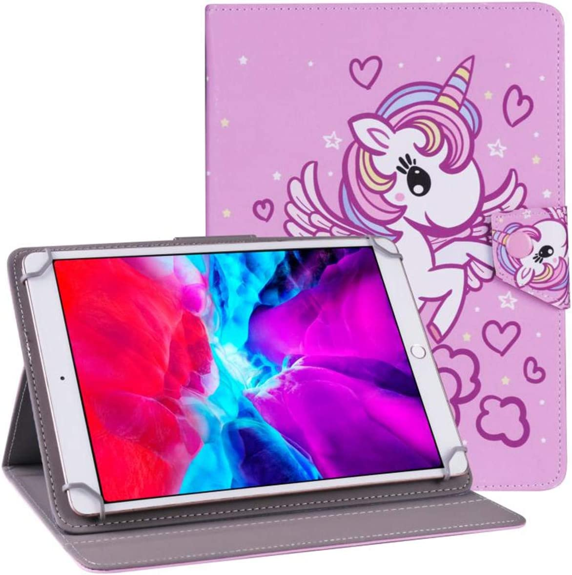 "PHEVOS 9.7-10.5 inch Tablet Universal Case Cover, Stand Folio Case, Comepatible with Samsung Galaxy Tab/Kindle Fire/Fire HD/Kindle Fire HDX/RCA and More 9.7""-10.5"" Tablets - Pink Unicorn"