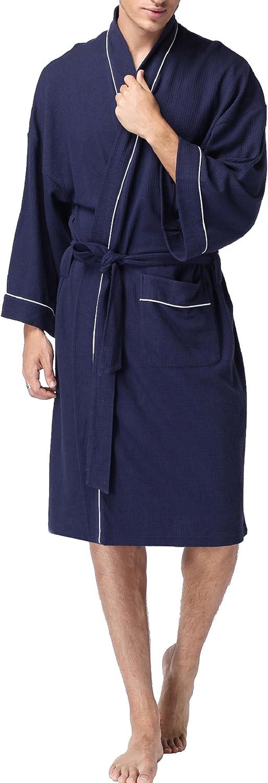 VOGMATE Mens Long 100/% Turkish Cotton Kimono Robe Lightweight Terry Spa Bathrobe With Pockets