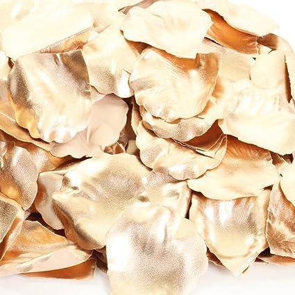 Koyal Wholesale Silk Rose Petals Confetti Rose Gold Bulk 1200 Pack Wedding Flowers Table Scatter Rose Petal Aisle Runner