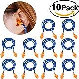 NUOLUX 10 paia di tappi per orecchie antirumore con cordino, in silicone riutilizzabili