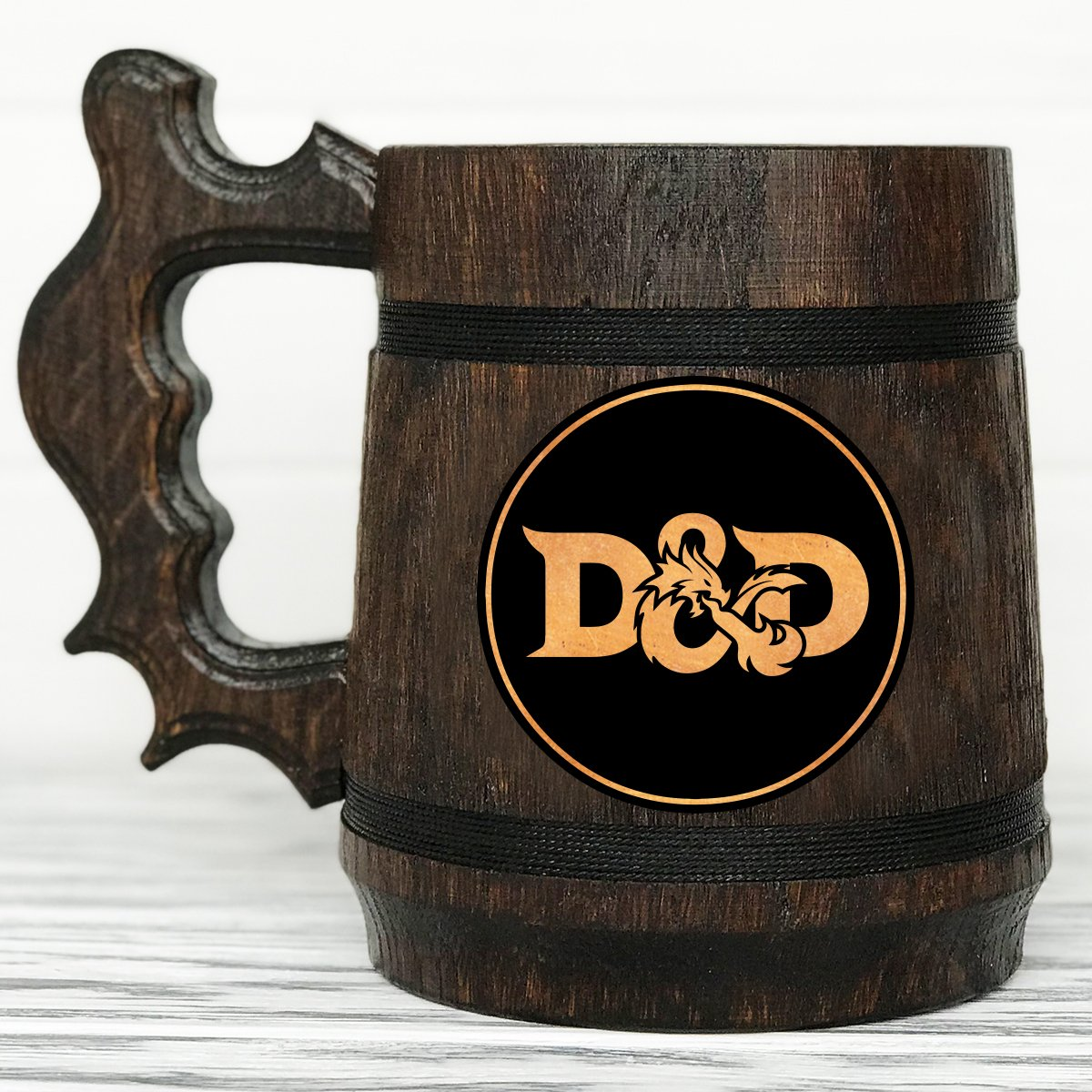 Dungeon and Dragons Mug. D& D Mug. Personalized Gamer Mug. Wood Stein Custom Beer Steins. Wooden Beer Mug. Personalized Gifts for Men #86/0.6L/22 Ounces