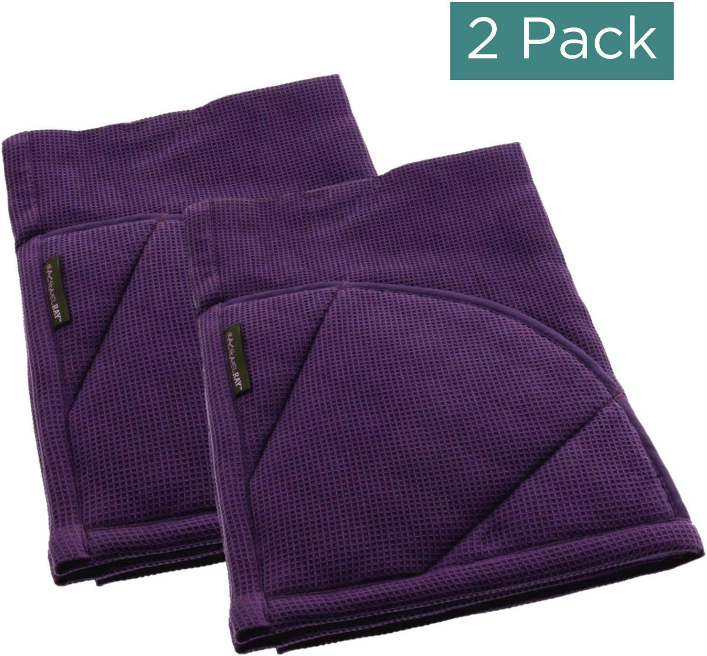 Rachael Ray Kitchen Towel, Oven Glove Moppine - 2-in-1 Ultra Absorbent Kitchen Towels with Heat Resistant Padded Pockets Like Pot Holders and Oven Mitts to Handle Hot Cookware - Lavender, 2 Pack