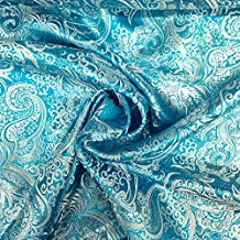 Metallic Paisley Brocade Fabric 60 By Yard in Red Yellow White Purple Blue (Turquoise / Silver) by Fabric Wholesale Direct