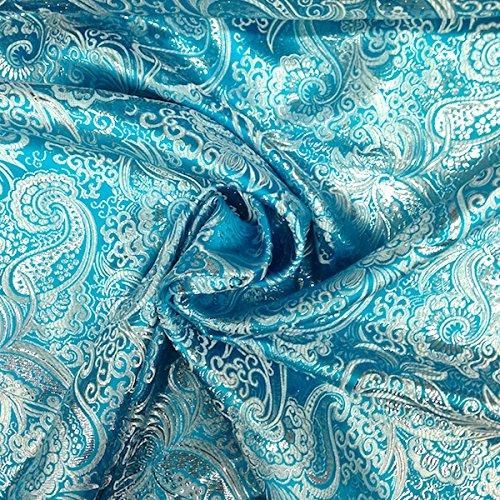 (Metallic Paisley Brocade Fabric 60