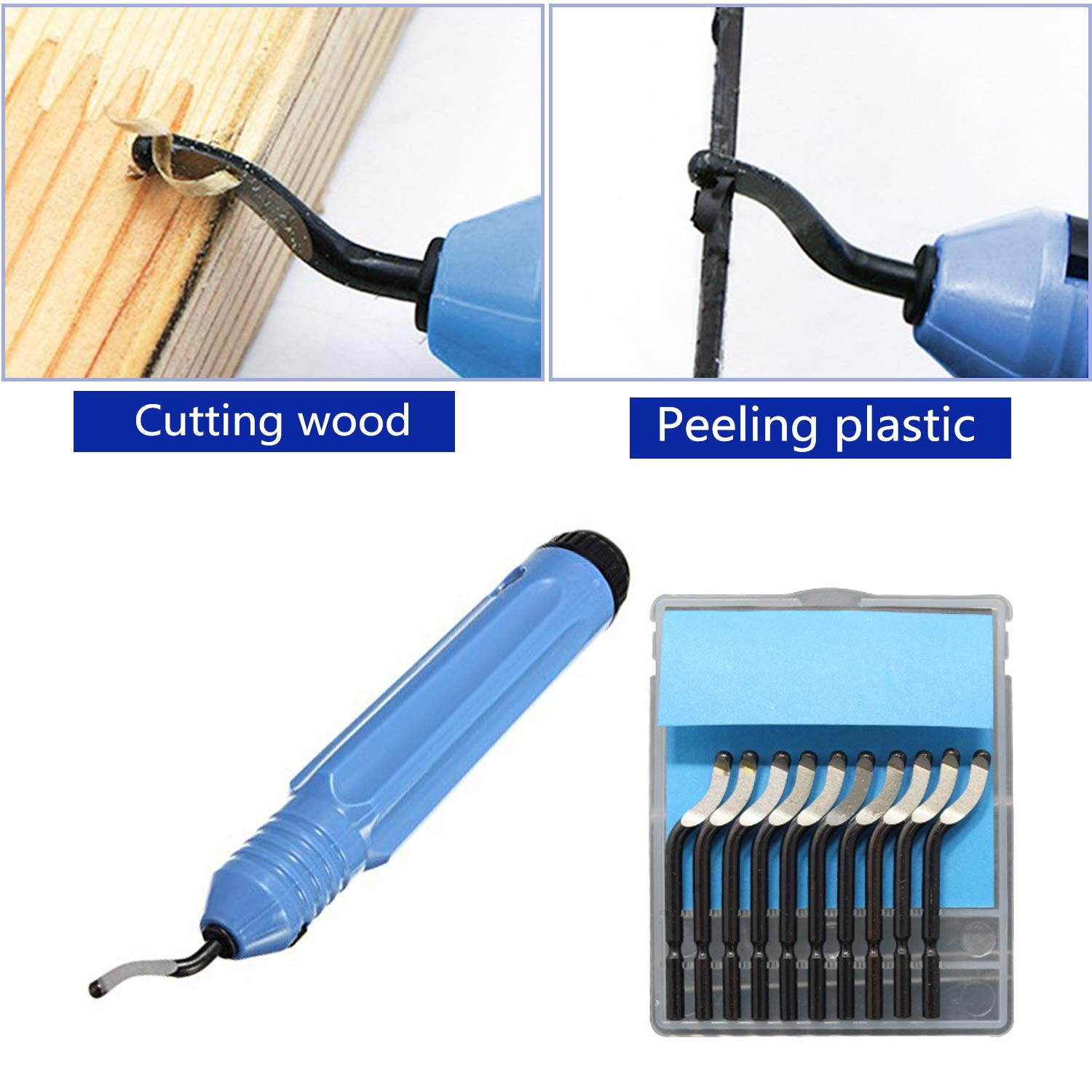 360 Degree Rotary Design of Deburring Blades Wood Steel Deburring Tool Kit 1 Piece With Blade Handle +10 Pieces of Deburring Blades Copper and Aluminum for Plastics