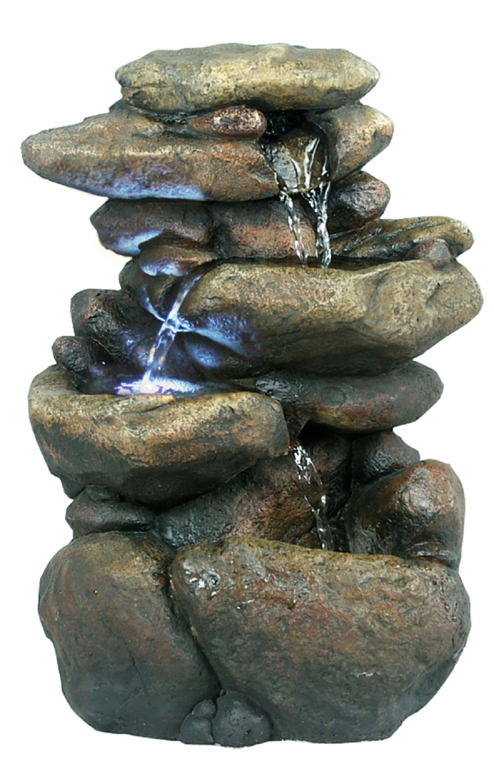 Alpine WIN472 Three Tiered Rock Tabletop Fountain with LED Lights, 11 Inch Tall