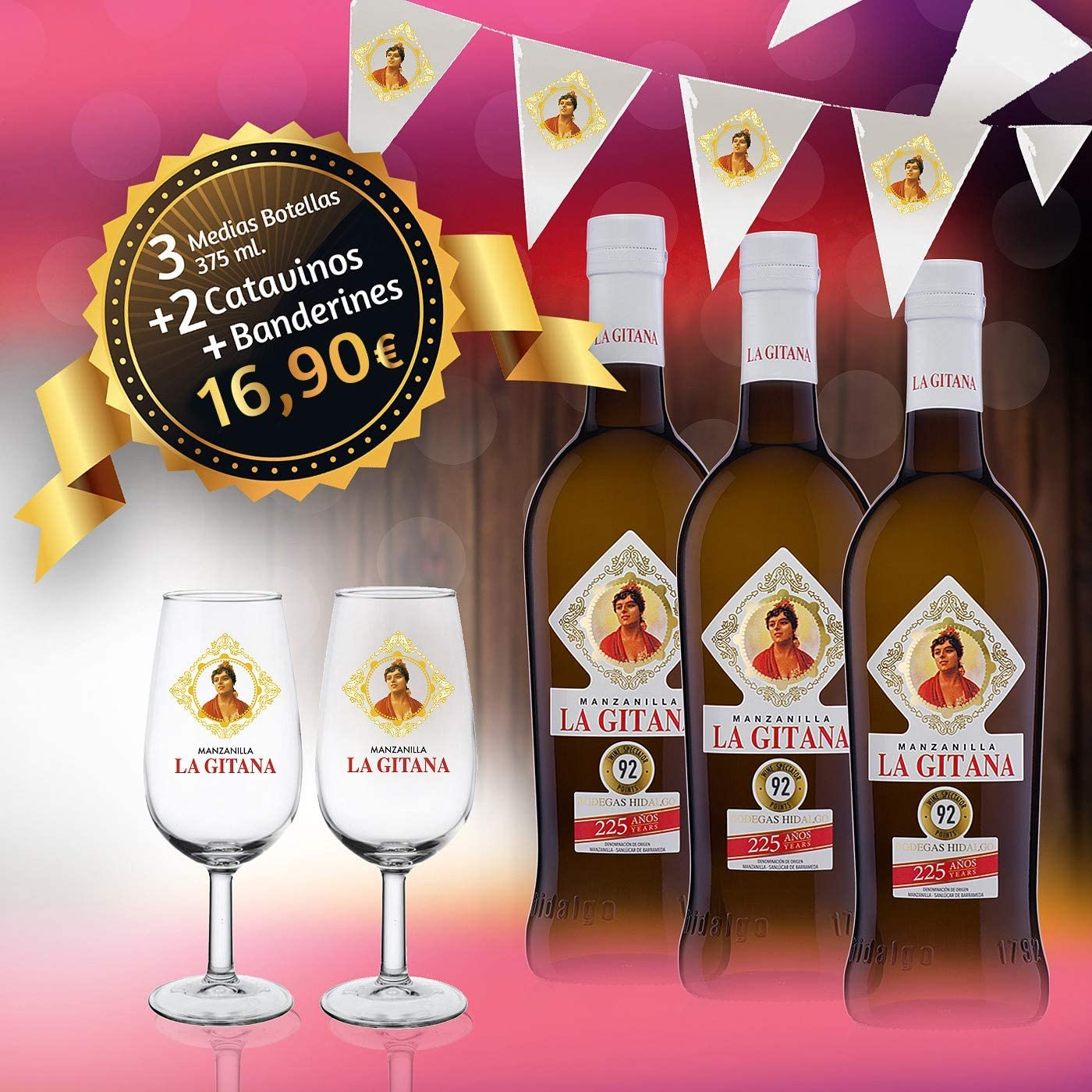 Manzanilla La Gitana - Pack 3 Botellas 37,5 Cl. + 2 Catavinos + Banderines