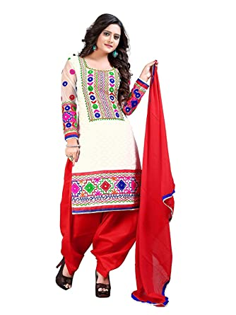 c8aa5f6a95a Image Unavailable. Image not available for. Colour  Generic Women s Cotton  Punjabi Patiala Salwar Suit(White Patiala White   Red Free Size)