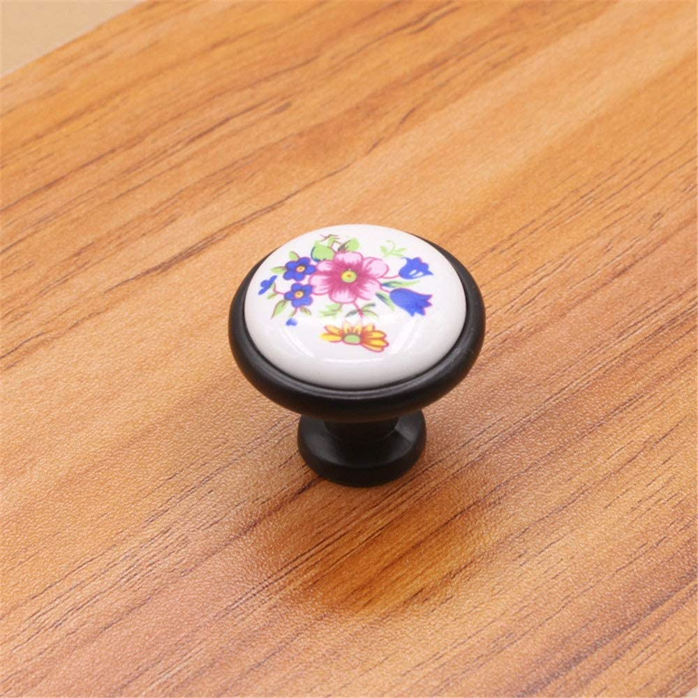 PengAnGuo Ceramic Handle 10 Pack 32MM Round Pattern Ceramic Knob with Retro Bronze Base Country Style Cabinet Cabinet Dresser Wardrobe Drawer Handle Suitable for Cabinet Wardrobes