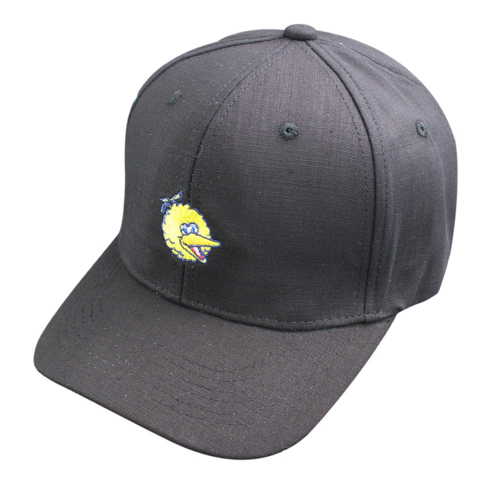 2019 New Womens Mens Bird Embroidery Baseball Caps Snapback Hip Hop Flat Solid Cotton Washed Adjustable Sports Hats (Black)
