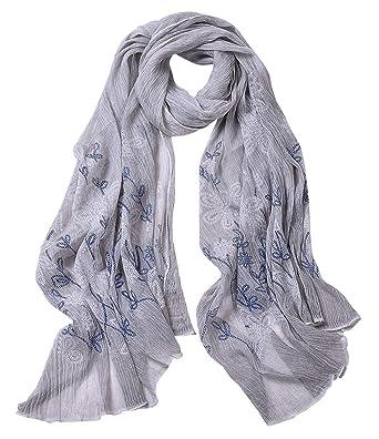 Echarpe Douce Femme Fille Foulard Long Taille 90   180cm Souple Tissu Fin  Voile Confortable Etole 962a8ea9d1d