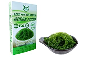 Salted Sea Grapes GREEN FOOD - Dehydrated seaweed - Organic - Umibudo - Green caviar - Caulerpa lentillifera (3.53 OZ/100g)