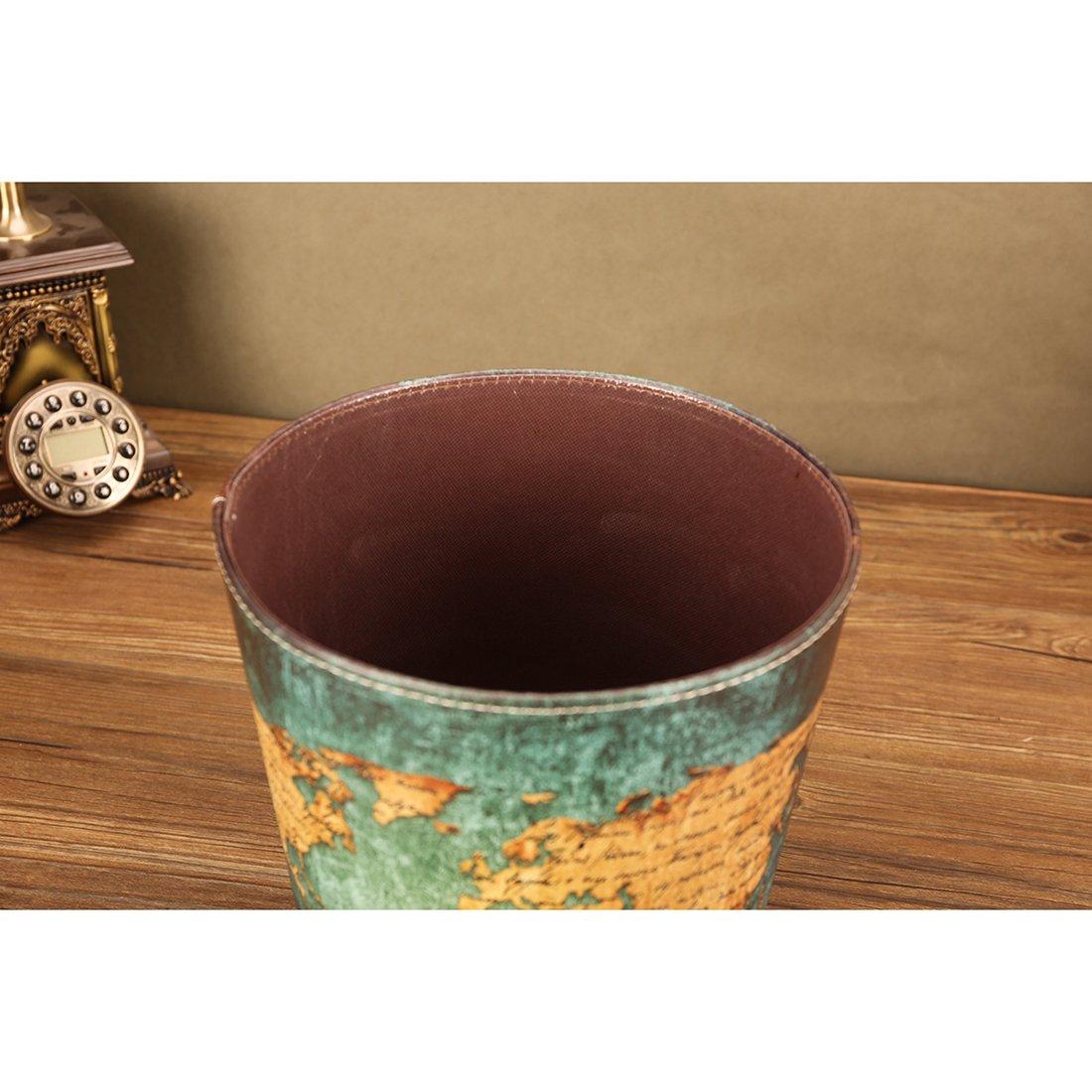 Cubo de Basura Foxom Impermeable Papelera Oficina Sin Tapa Cubo De Basura Para Ba/ño y Cocina 25X25X27cm Dise/ño De Mapa