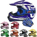 Leopard LEO-X17 Casco de Motocross para Niños y Guantes y Gafas ECE Homologado