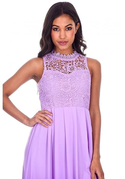 AX Paris Womens Crochet Top Chiffon Maxi Dress at Amazon Womens Clothing store: