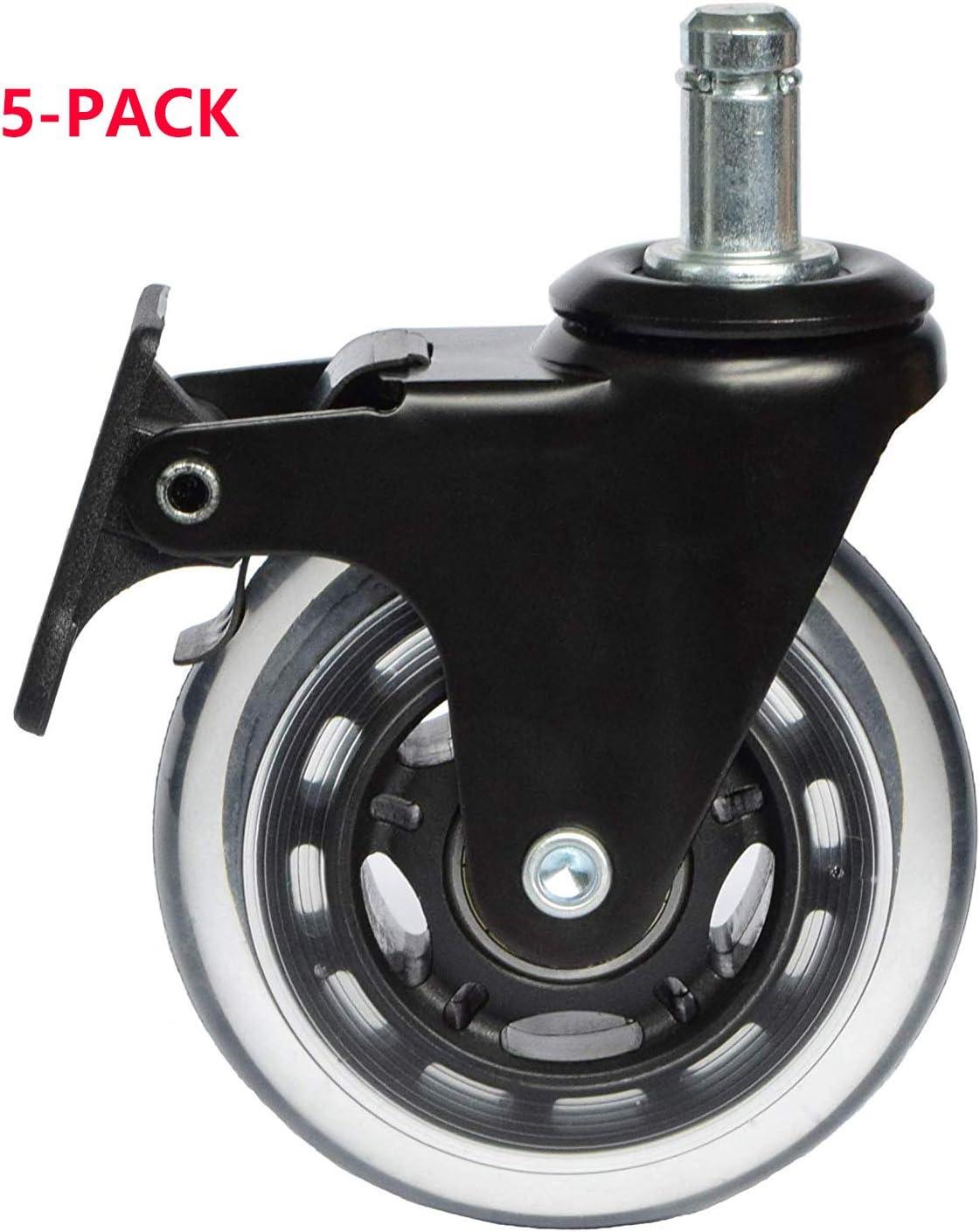 IKEA Rueda de rueda de 10 mm con bloqueo de freno, ruedas resistentes para silla de oficina, tapete de repuesto (CasterIkeaBrake3)