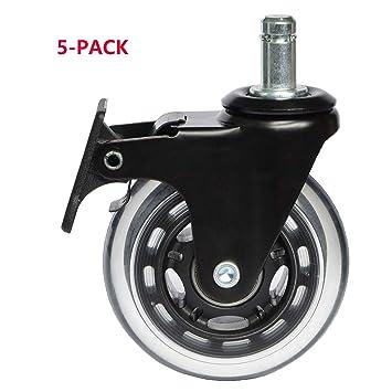 IKEA Rueda de rueda de 10 mm con bloqueo de freno, ruedas resistentes para silla de oficina, tapete de repuesto (CasterIkeaBrake3): Amazon.es: Hogar