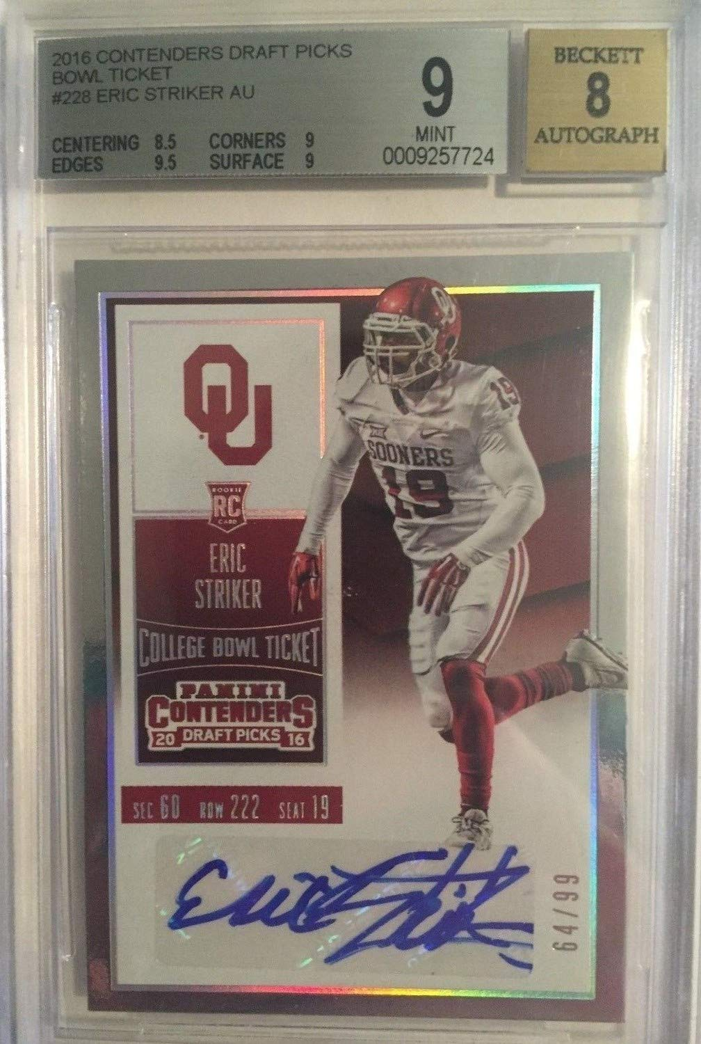2016 Contenders College Bowl Ticket Ou Autographed Signed Eric Striker Rc /99 Bgs 9 Certified Authentic