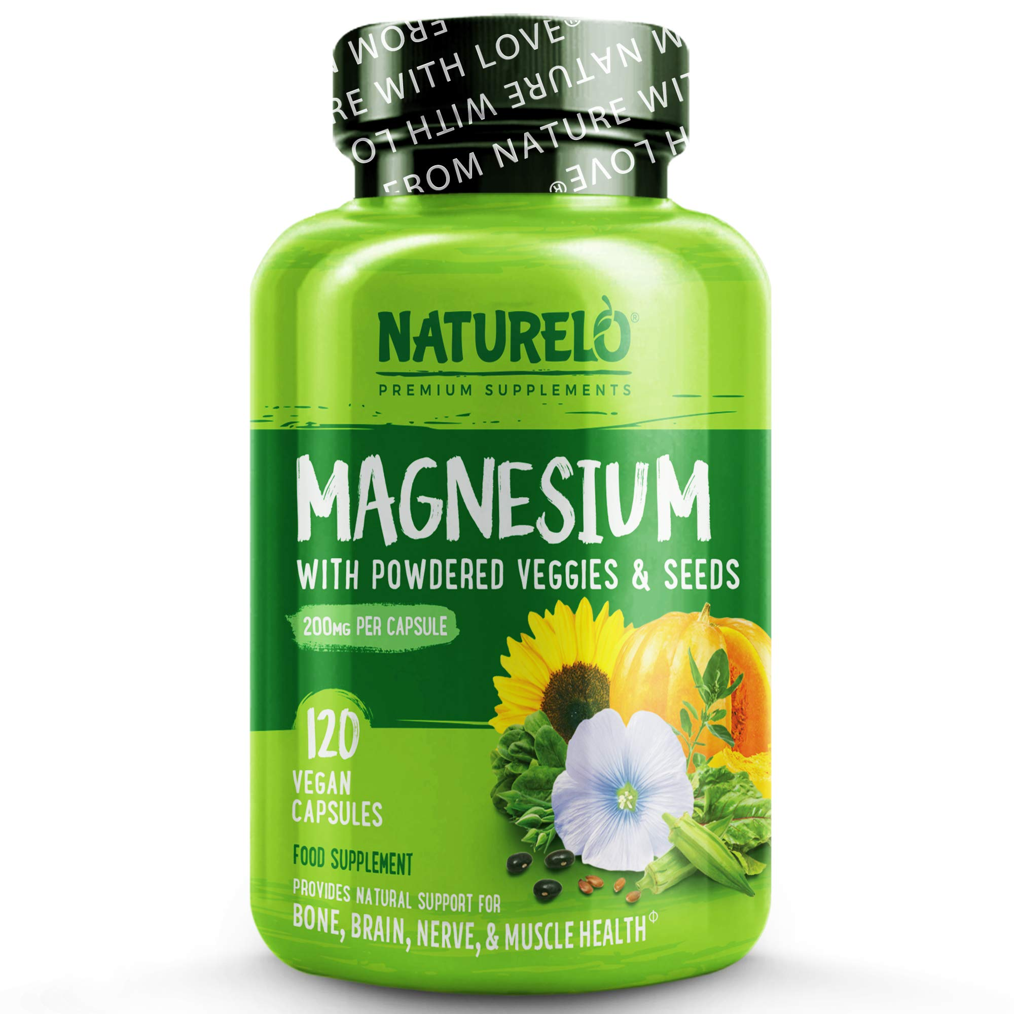 NATURELO Magnesium - 200 mg Natural Glycinate & Magnesium-Rich Vegetable Blend - Best Glycinate Supplement for Energy, Nerves & Mental Balance - Gluten&GMO Free - 120 Vegan Capsules | 4 Month Supply