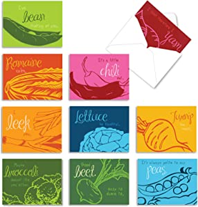 The Best Card Company - 10 Blank Food Note Cards Boxed (4 x 5.12 Inch) - All Occasion Assortment, Bulk Set - Veggie Verses M6589OCB