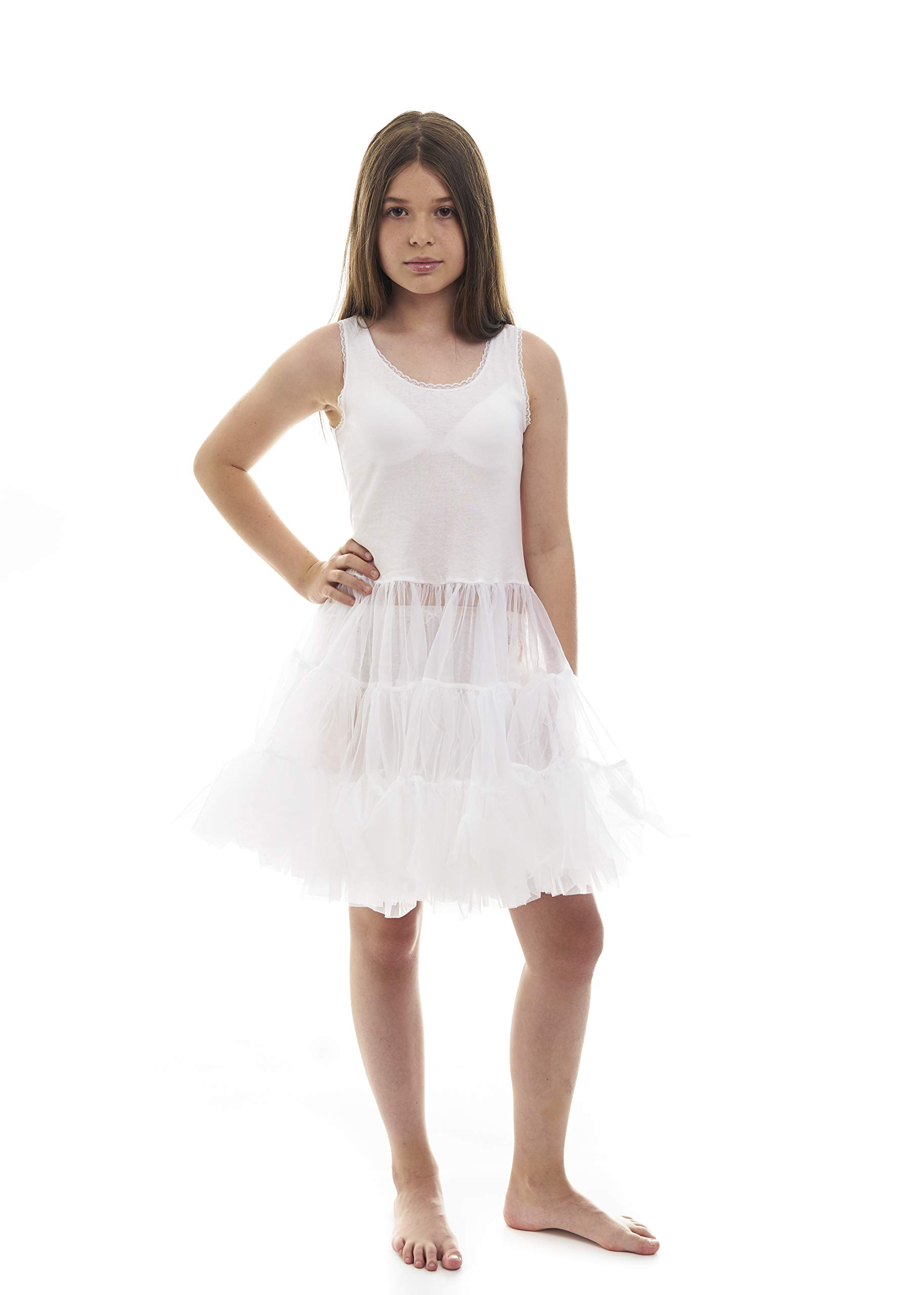 3bfd4f5b6a01 Amazon.com: Miss Model Candyland Petticoat Dress for Girls - Underdress and  Kids White full Slip Poodle Skirt Perfect for Formal Dress: Clothing