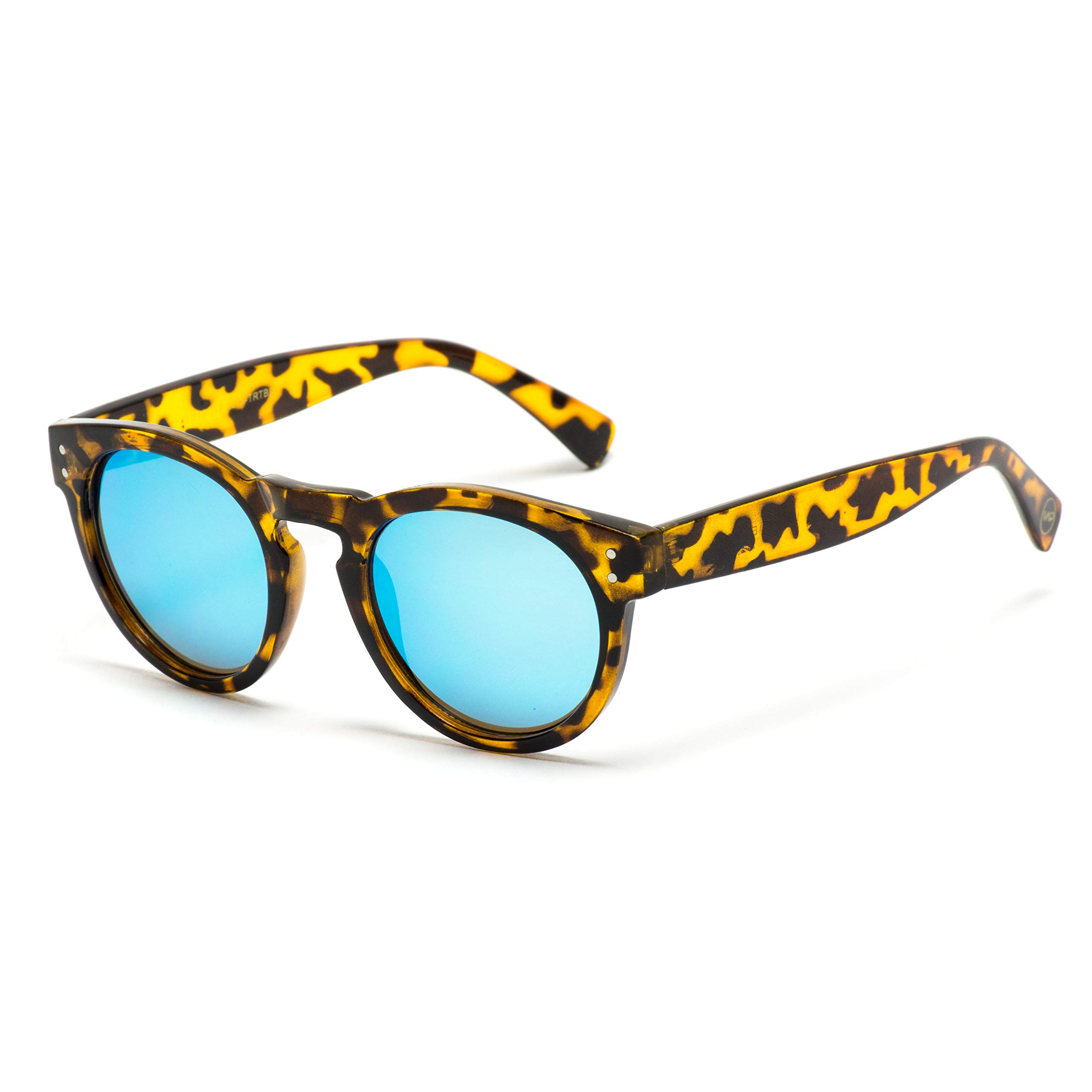 Vintage Inspired Mirror Lens Round Horned Rim Frame Retro Sunglasses by WearMe Pro