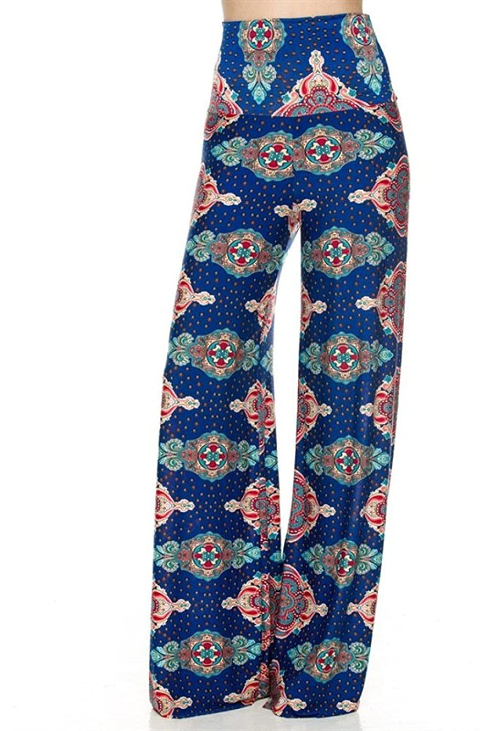 2LUV Women's Multicolored High Waisted Wide Leg Palazzo Pants
