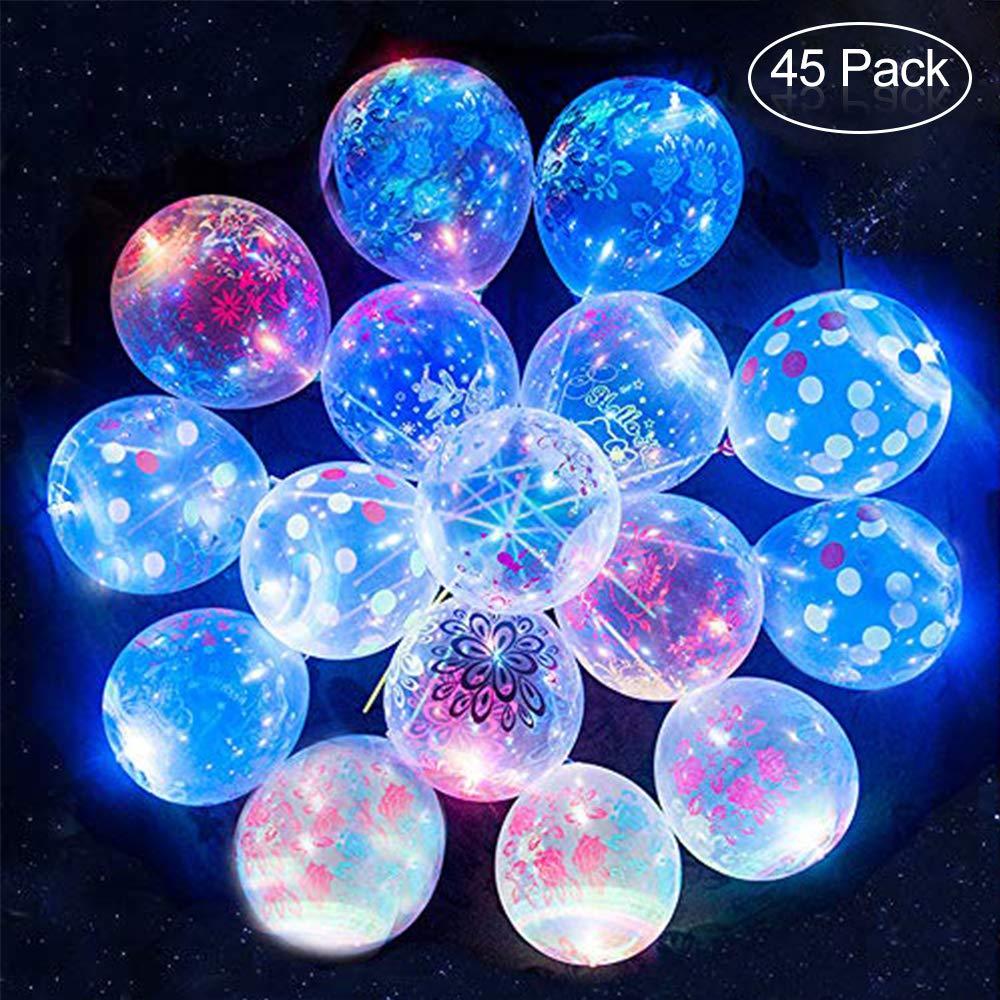 Conjunto de 50 globos con luces led de colores variados. Pilas incluidas.